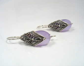 Poncho Earrings - silver filigree diamond shape with lavender faceted quartz bead