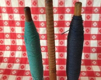 Antique Wood Darning Spools.  Antique Textile Spool.