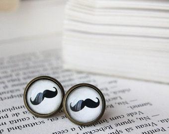 Moustache Stud Earrings - Moustache Earrings - Mustaches Earrings - Hipster Earrings