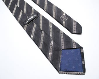 authentic Chanel men's tie vintage rare silk made in Italy