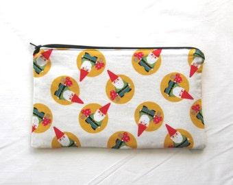 Garden Gnomes Fabric Zipper Pouch / Pencil Case / Make Up Bag / Gadget Sack