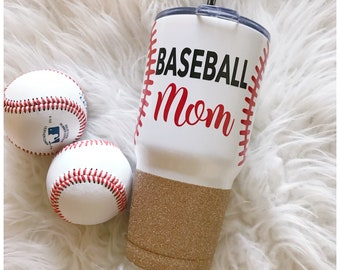 Baseball Mom - Softball Mom - Steel Tumbler - Baseball - Glitter Tumbler - Glitter Dipped - Glitter Cup - Vacuum Insulated Mug - Mom Life