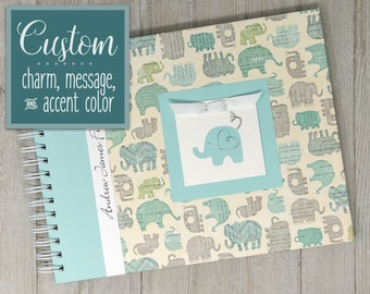 Elephant Baby Book - A keepsake album for milestones & memories of baby's first year! Personalization included. - BLUE ELEPHANTS