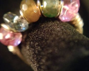 Watermelon Tourmaline Gold plated wire wrap ring.