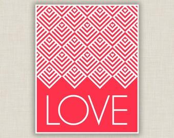 Love Art Print, red nursery decor, paper anniversary, wedding gift, love gift, typography art, geometric art, red bedroom art, Valentine Art