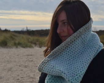 Glacial Bulge -- Big Huge Blue Ice Warm Cozy Luxury Cowl Scarf