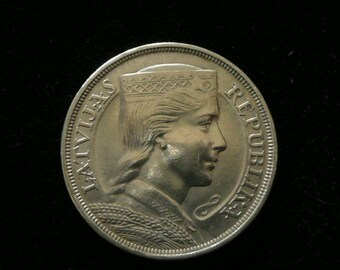 Silver Coin,First Latvian Republic ,year 1931, Five Lats.