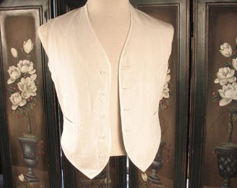 Edwardian Summer  White Linen Vest....   chest 41 inches / size Small to  Medium