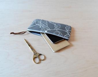 Zipper Pouch, Pencil Case in Dark Leaves - Zip Pouch, Cosmetic Clutch, Phone Wallet, Zipper Clutch, Bridesmaid Gift