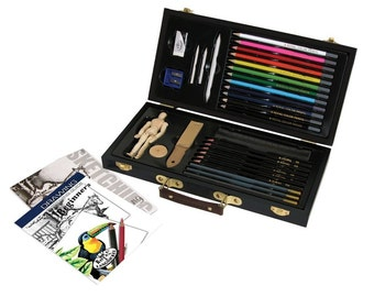 Sketching and Drawing Artist Set With Wooden Storage Box for Beginners, Travel Sketch Art Set For Beginning Artists, Perfect Student Art Set