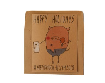 Holiday cards set of 5 Funny Christmas cards pack New years funny Christmas cards pig - Funny cards Happy holidays cards pack of 5 pig