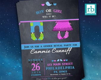 Gender Reveal Invitations, Gender Reveal Party, Baby Shower Invitation, Gender Reveal Chalkboard, Baby Gender Party - Digital Printables