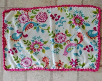 Floral Ruffle Small Baby Blanket