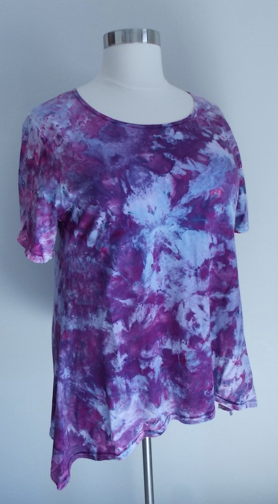 Women's  2XL Short Sleeve Hanky-hem Ice dye tie dye Cotton Tunic