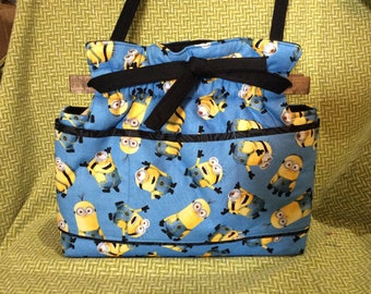 Reversible minion fabric handbag Purse cotton quilted