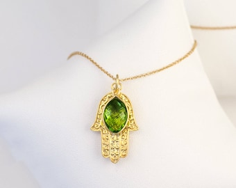 Evil Eye Jewelry, Birthstone Jewelry, Peridot Necklace, Bat Mitzvah Gift, August Birthstone Necklace, Hamsa Hand