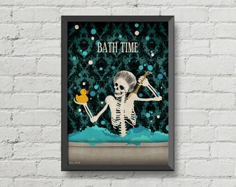 Bath time poster, skeletons,skulls art,gothic,cute,home decor,wall decor,bathroom decor,bathroom sign,digital print,victorian,
