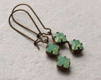 Green Opal Earrings, Art Deco Earrings, Geometric Jewelry, Gift for her, October Birthstone, Vintage Art Deco Earrings