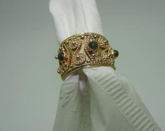 14K wedding band with jade stones