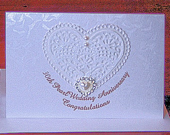 30th Pearlised White Wedding Anniversary Congratulatory Sparkling Glitter Card is Elegant Simplicity with Lacey Heart and Pearl Jewels