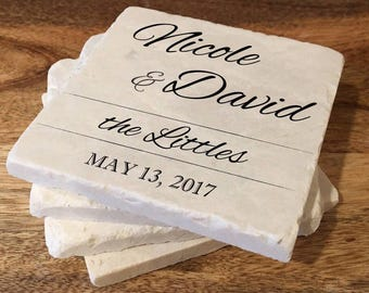 Personalized wedding coasters / Custom marble coasters / Wedding gift / Wedding favor