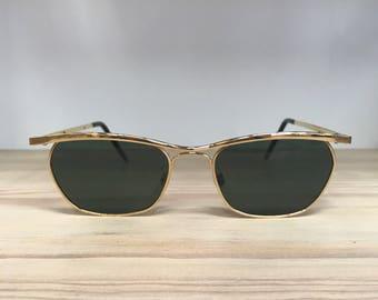 Rectangular vintage sunglasses Gold gunmetal black