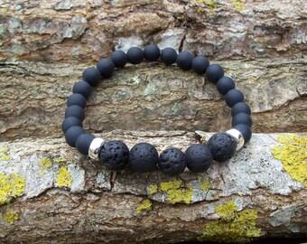 Mens bracelet, Men, Gift, Men's bracelet, Man's bracelet, Onyx bracelet, Sterling silver, Lava rock bracelet, Natural Matt Onyx (grade AAA)
