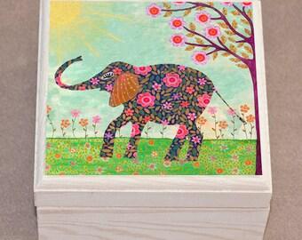 Sunny Elephant Jewelry Box  - Indian Elephant Gift - Wooden Jewelry Box - Handmade Bohemian Elephant Gift