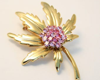 Vintage brooch. Pink crystal brooch. Leaf brooch