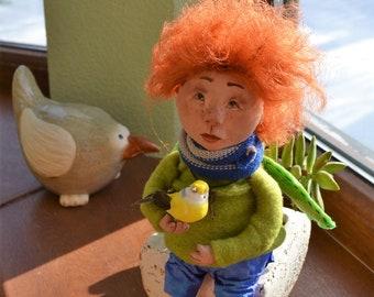 "OOAK Art doll ""Martin"" interior doll sitting figure of a spring angel"