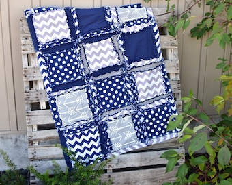 Arrow Crib Bedding - Navy Blue / Gray Baby Bedding - Native American Quilt Tribal Nursery - Boy Quilt Camping Nursery - Crib Rag Quilt