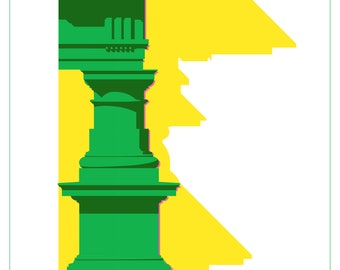 Digital Wall Art - Doric Order - Green