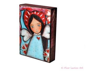 Wings of Love - Giclee print mounted on Wood (5 x 7 inches) Folk Art  by FLOR LARIOS