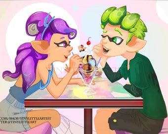 Inklings Ice cream // Icecream parlor // Splatoon Artwork // Inkling Girl // Inkling Boy // Nintendo Artwork