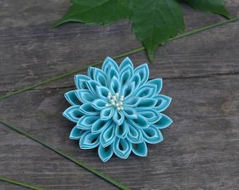 Turquoise Flower Hair Clip. Bridesmaid Hair. Bridal Hair Clip. Womens Hair Clip. Blue Kanzashi Hair Clip. Turquoise Headband. Aqua. Prom