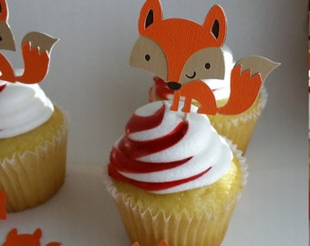 fox cupcake topper, woodland paty decorations, fox cake topper, forest party, fox party decoration