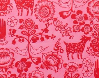 Las Golondrinas - Hot Pink/Red   Folklorico Alexander Henry  1 Yard Fabric NEW