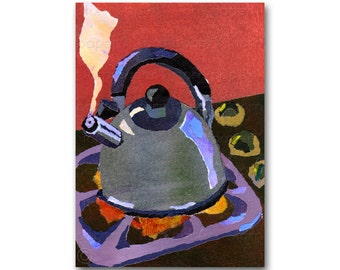 Whistling Tea Kettle - Tea Party - Friendship Card - Childhood Memories - Retro 1950's Kitchen Art - Country Kitchen Poster (CMEM2013112)
