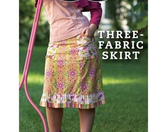 Three-Fabric Skirt Sewing Pattern Download (803014)