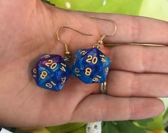 D20 Earrings Purple and Blue