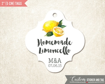 """36 limoncello tags, fancy shape 2"""" x 1.9"""" personalized with your initials and wedding date, wedding favors, bottle tags, favor tags (T-84)"""