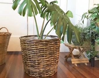 Large Woven Rattan Basket Planter, Bamboo Storage Basket , Boho Coastal Decor Jungalow