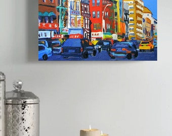 Chinatown Colorful Painting NYC Art Wall Decor New York City  8x10, blue red yellow Painting by Gwen Meyerson