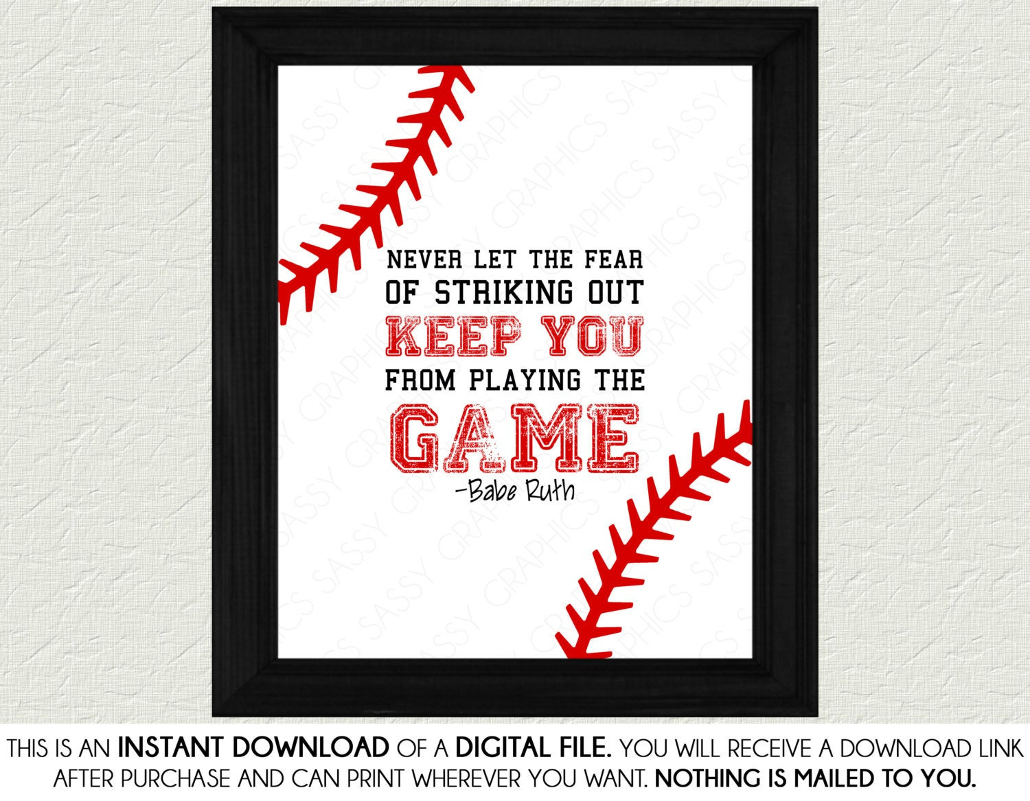 Baseball Quote Prepossessing Baseball Quote Print Art Babe Ruth Quote Red White Nursery
