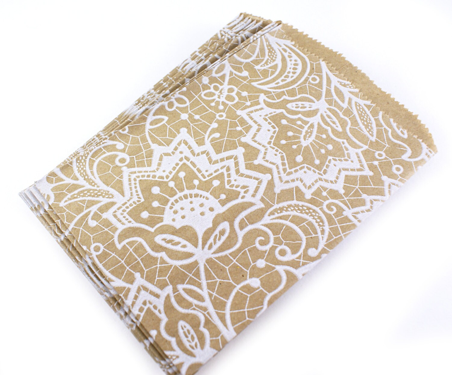25 Kraft bags with white floral lace pattern - 4-3/4x6-3/4 kraft ...
