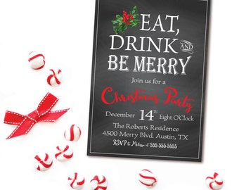 Christmas Party Invitation - Holiday Party Invitation - Chalkboard Christmas Invite - Holly Berries - Printable Invite