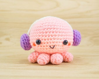 Octopus Plush - Crochet Octopus - Octopus Toy - Octopus Decor - Octopus Amigurumi - Octopus Stuffed Animal - Octopus with Headphones