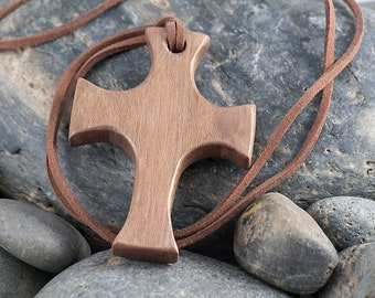 Wooden Cross on Suede Cord WN002