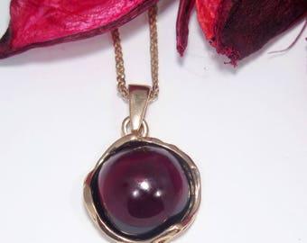 14K Gold Necklace, Garnet Necklace, Vintage Necklace, Garnet Jewelry, Vintage Pendant, Round Pendant, Dainty Pendant, Dainty Necklace