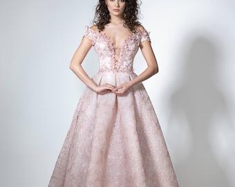 Blush wedding dress, Boho wedding dress with open back, Sexy color wedding gown, A line wedding dress with flowers, Blush bridal dress